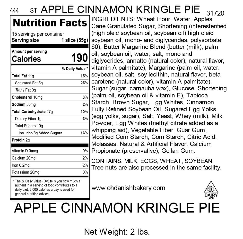 Nutritional Label for Apple Cinnamon Kringle Pie