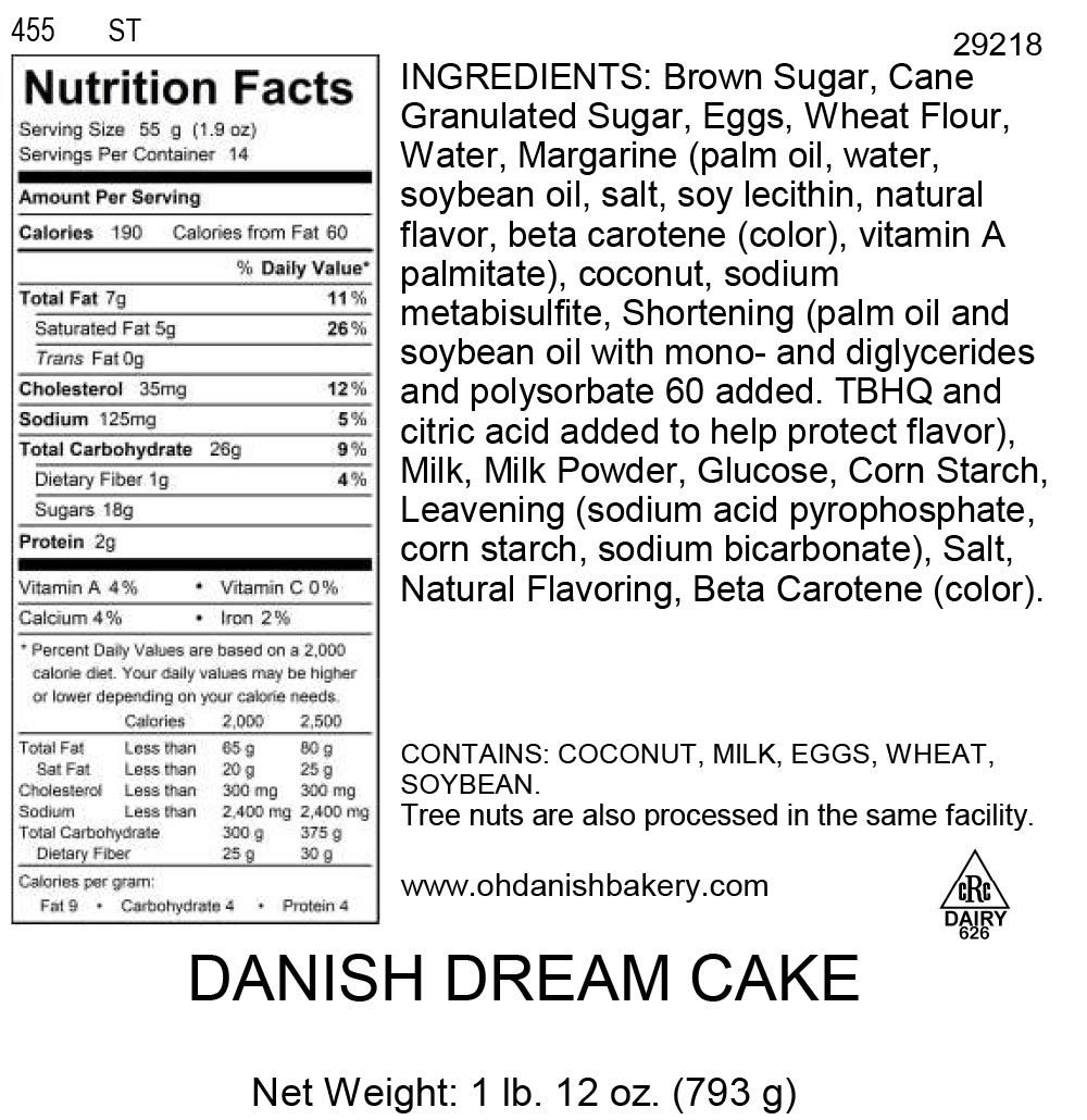 Nutritional Label for Danish Dream Cake
