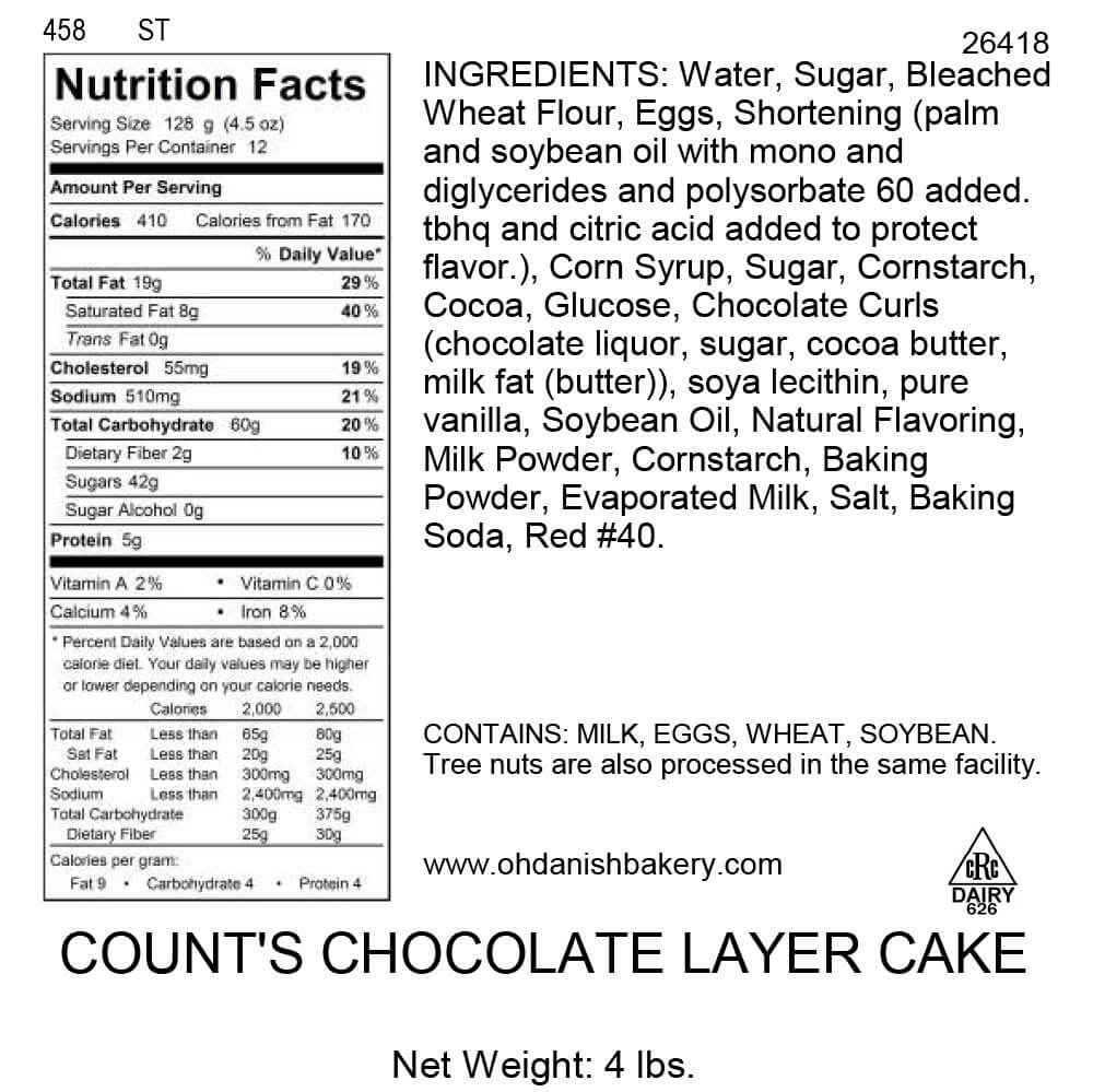 Nutritional Label for Count's Chocolate Layer Cake