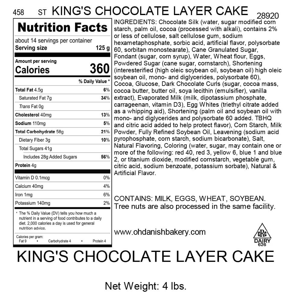 Nutritional Label for King's Chocolate Layer Cake