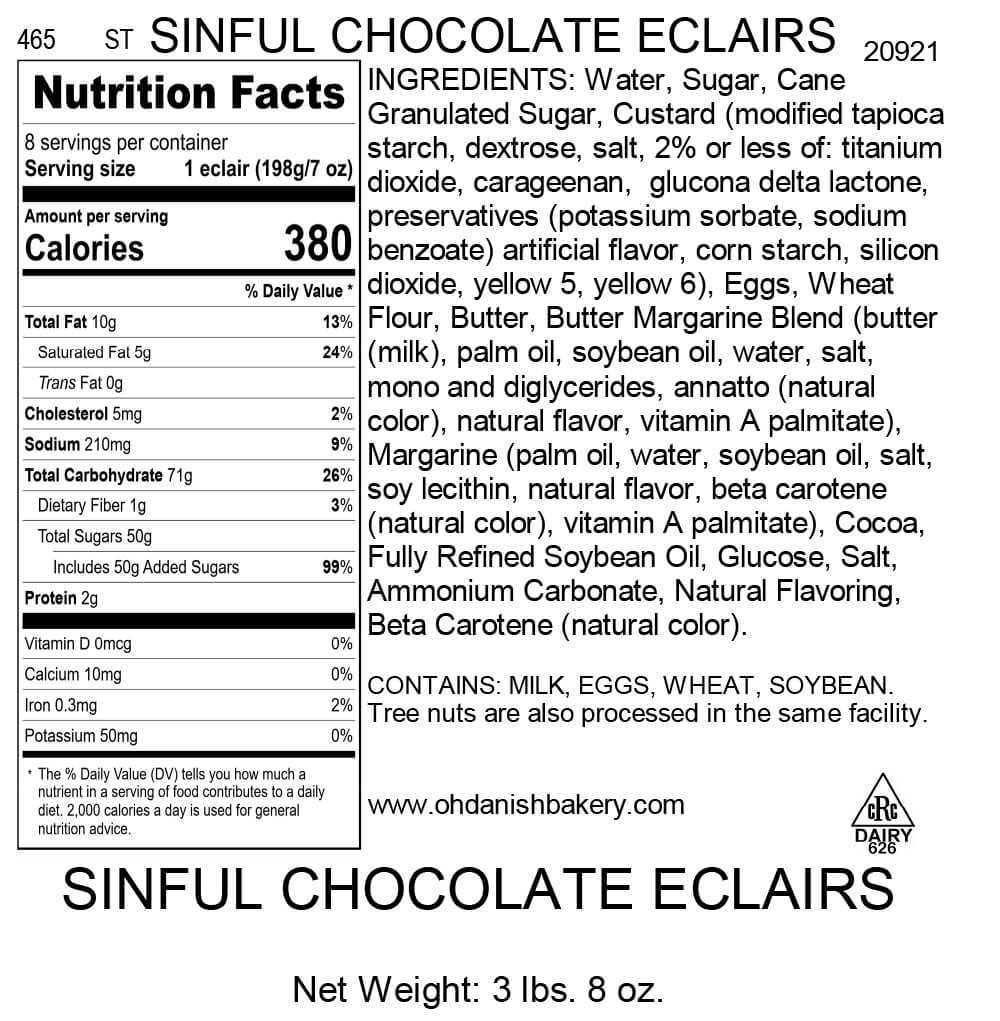 Nutritional Label for Sinful Chocolate Eclairs