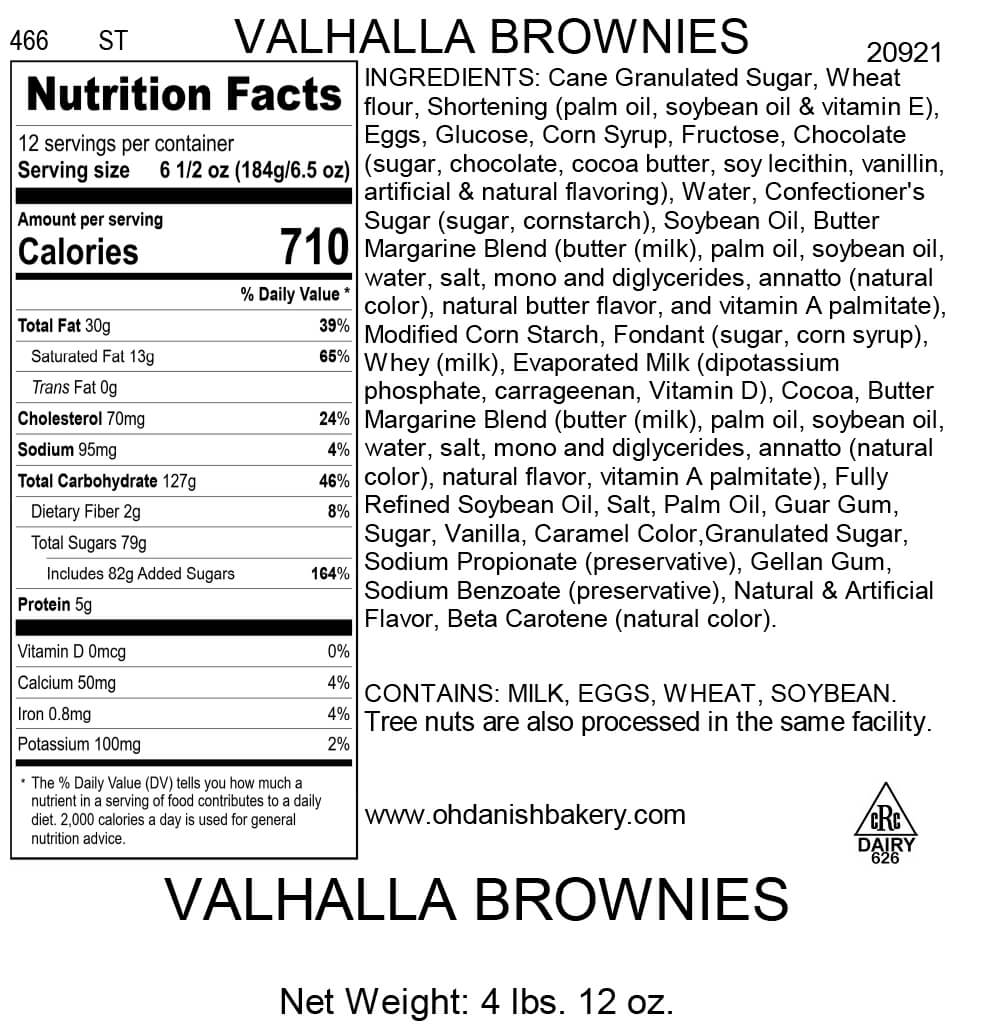 Nutritional Label for Valhalla Brownies
