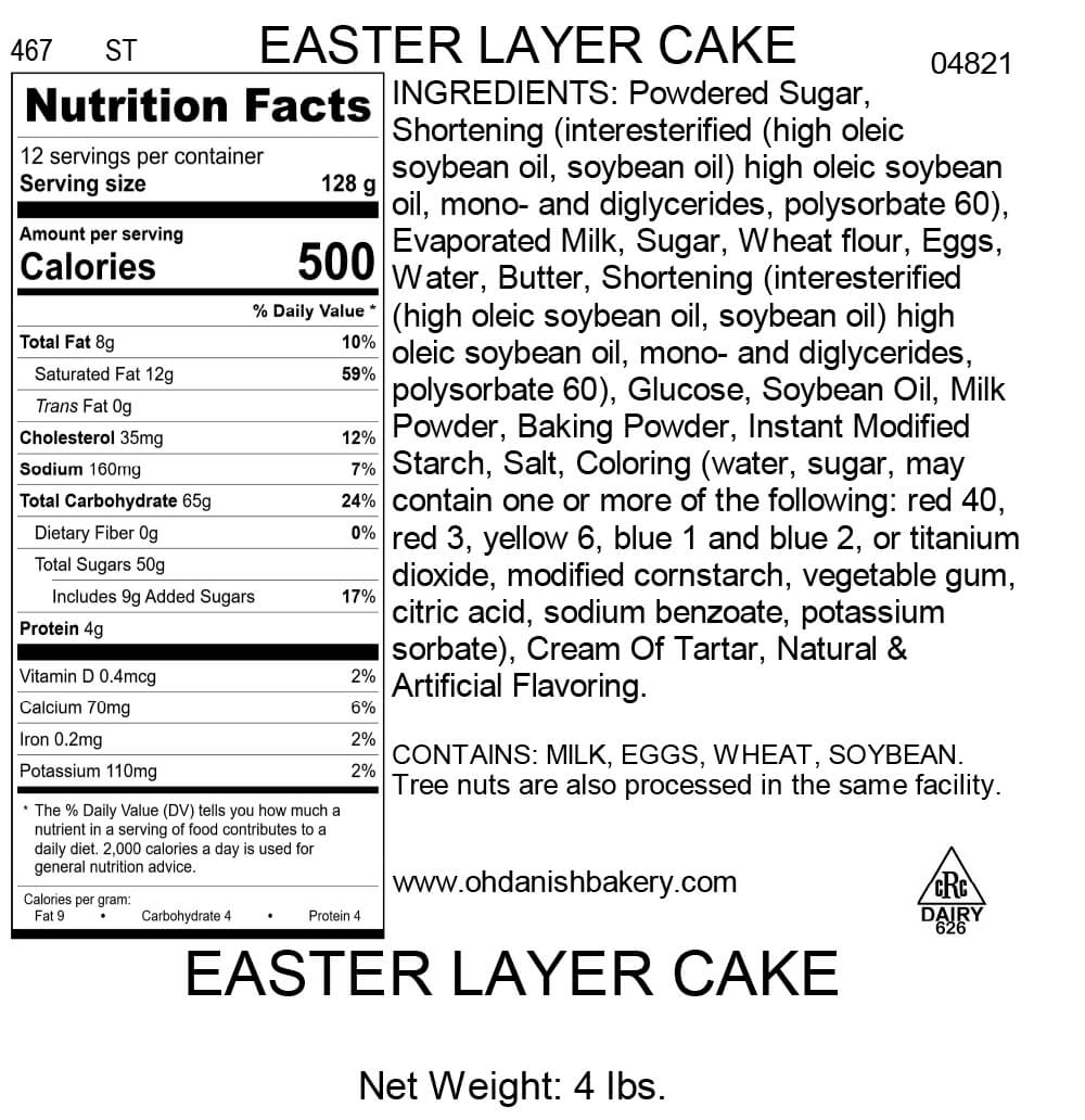 Nutritional Label for Easter Layer Cake