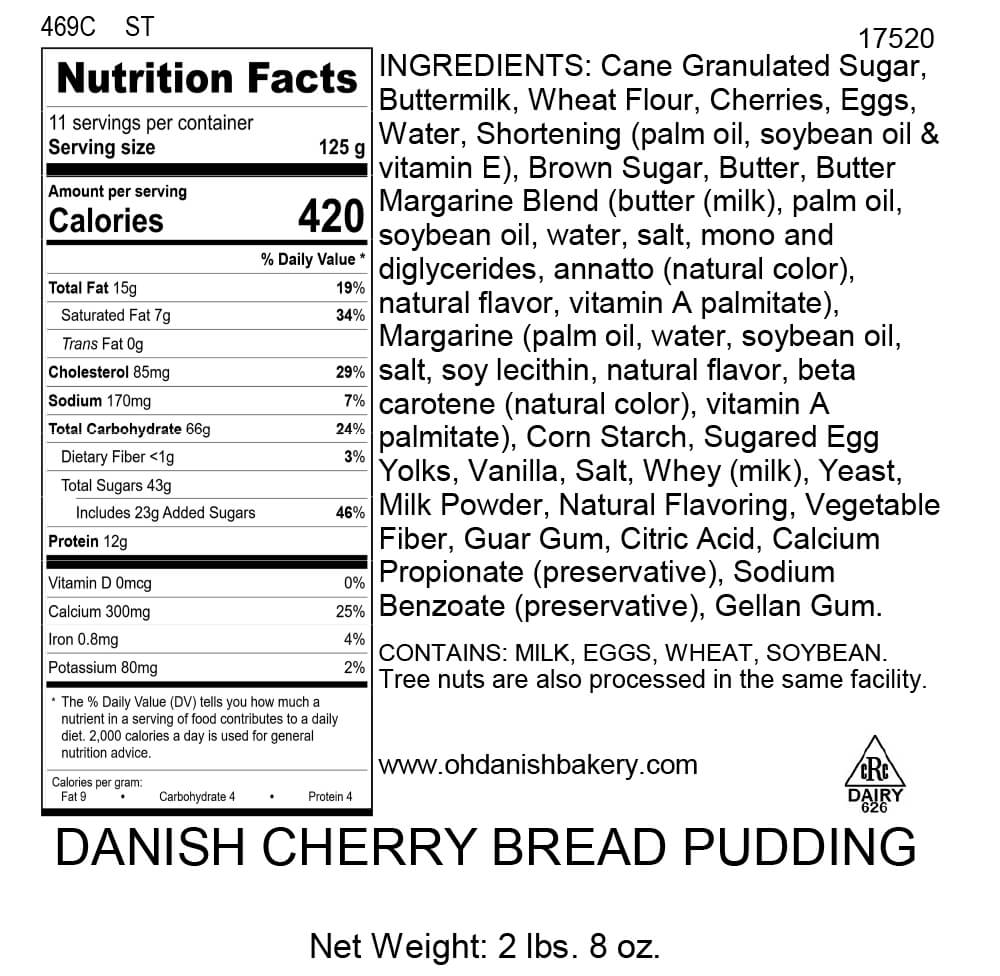 Nutritional Label for Danish Cherry Bread Pudding