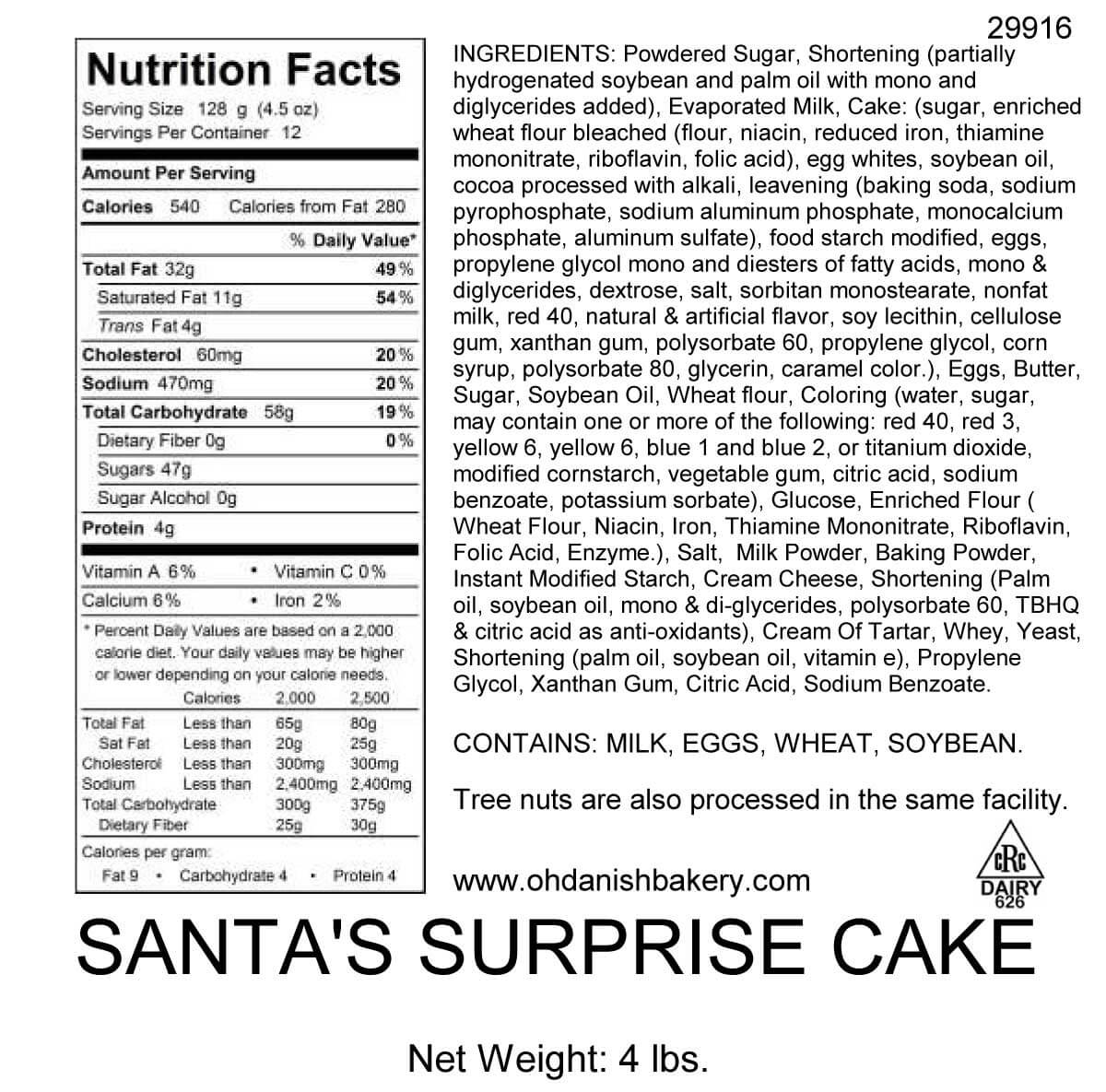 Nutritional Label for Santa's Surprise Cake