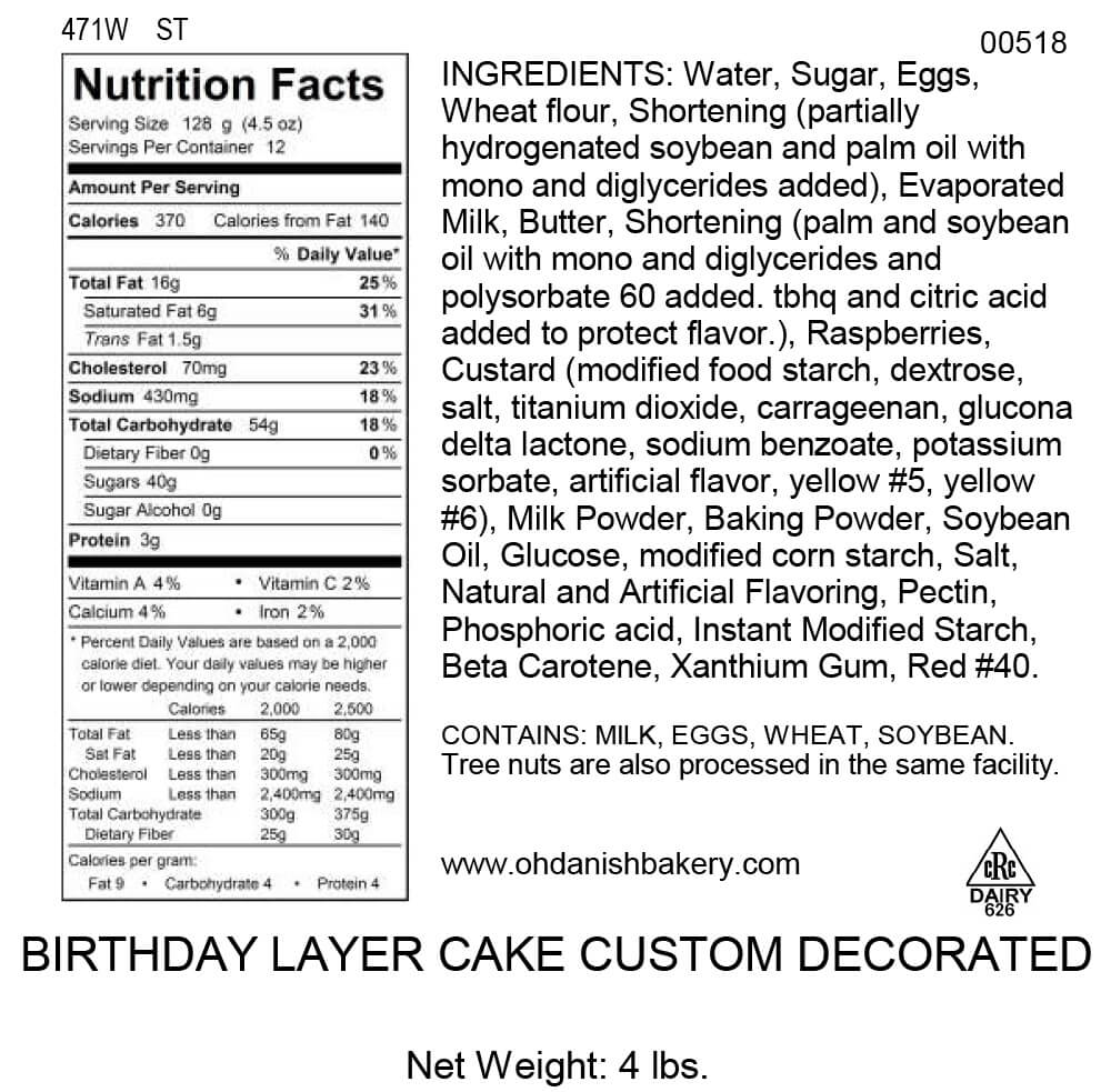 Nutritional Label for Birthday Layer Cake Custom Decorated