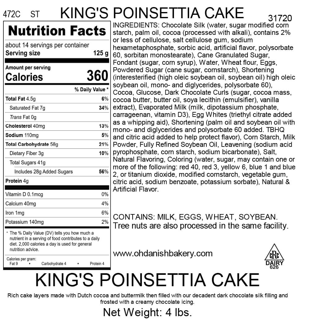 Nutritional Label for King's Poinsettia Cake