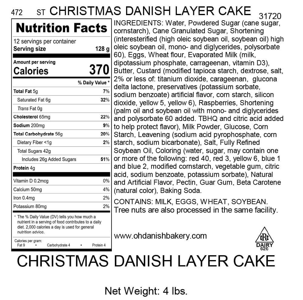 Nutritional Label for Holiday Danish Layer Cake