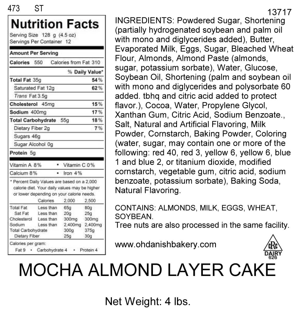 Nutritional Label for Mocha Almond Layer Cake