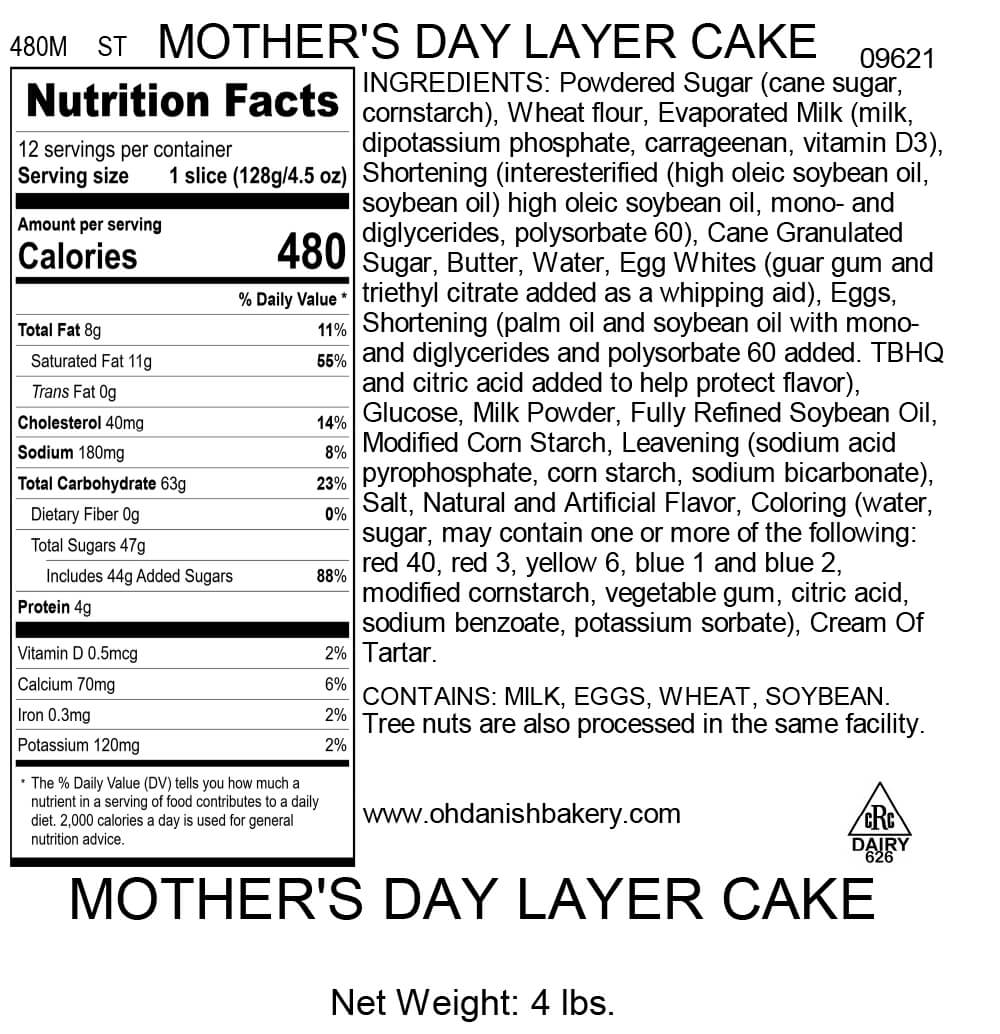 Nutritional Label for Mother's Day Layer Cake
