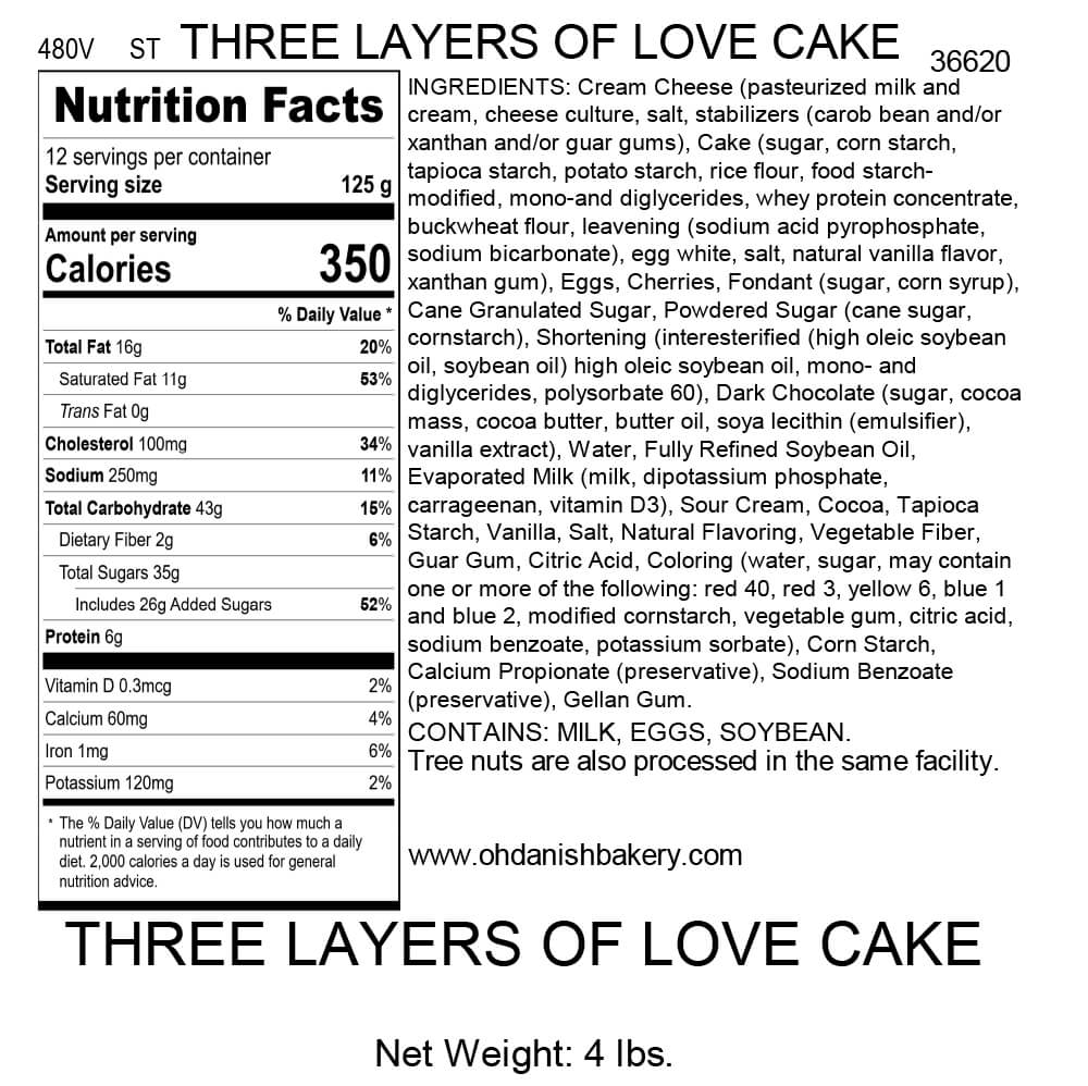 Nutritional Label for Three Layers of Love Cake