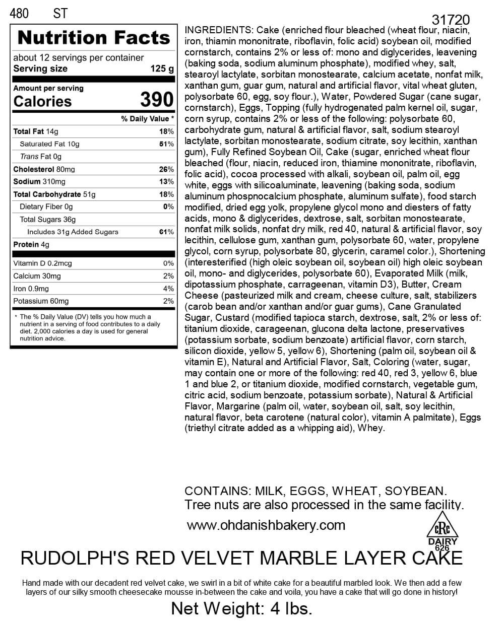 Nutritional Label for Rudolph's Red Velvet Marble Layer Cake