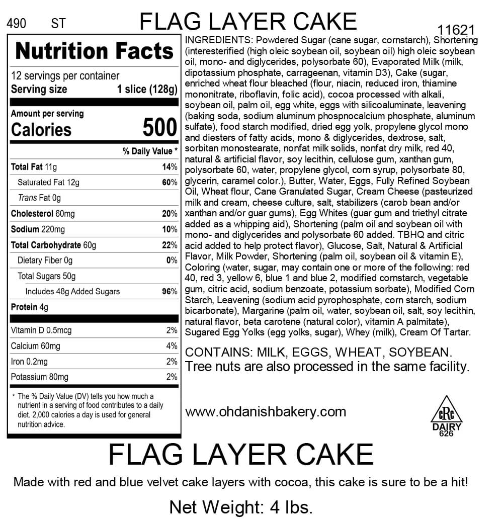 Nutritional Label for Flag Layer Cake