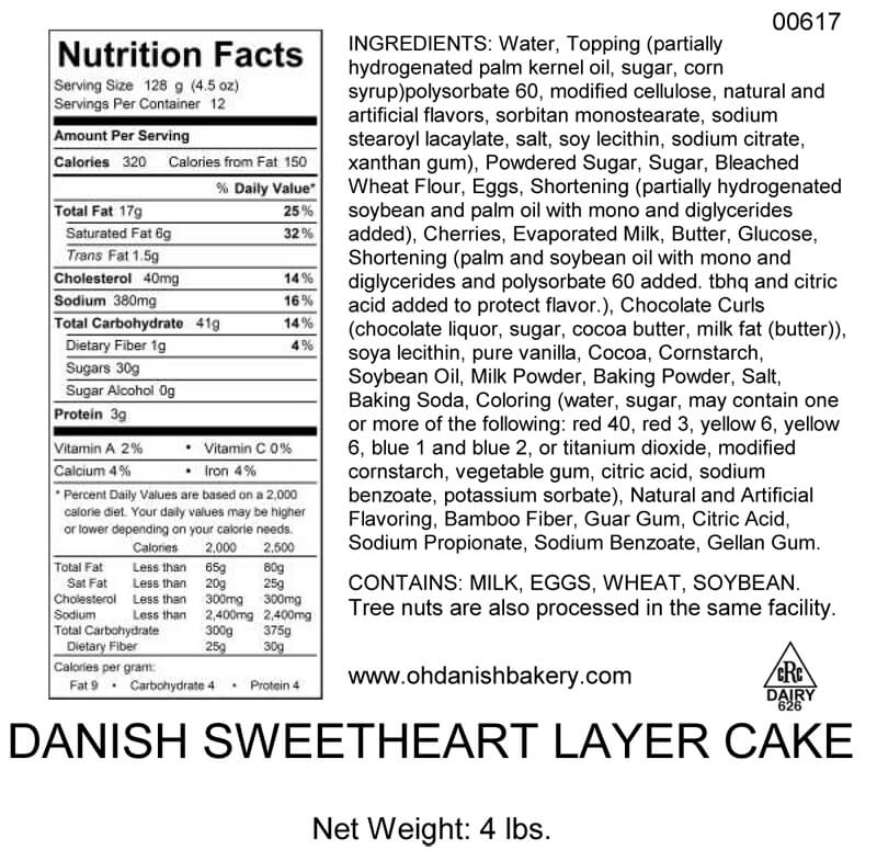 Nutritional Label for Danish Sweetheart Layer Cake