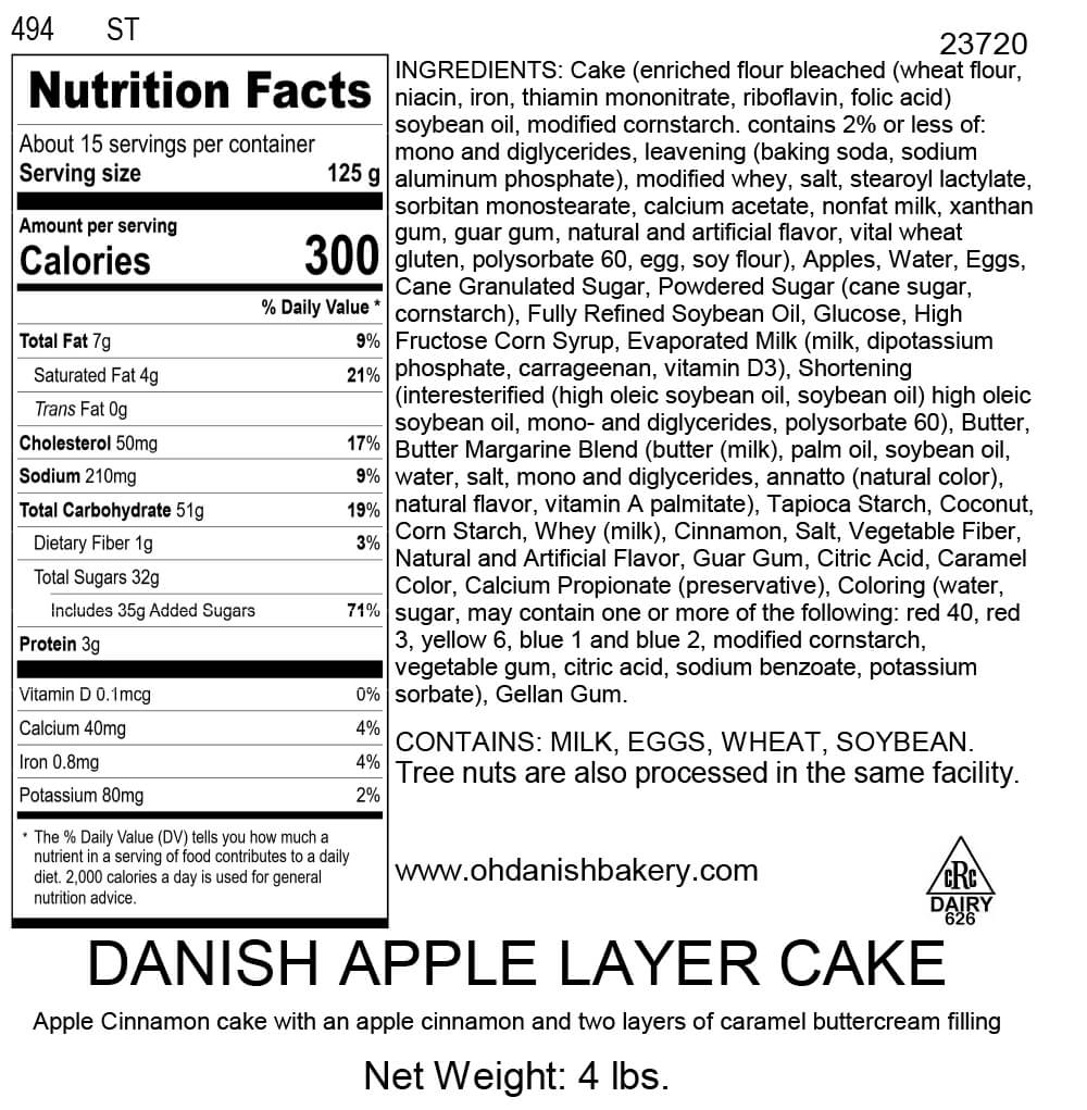 Nutritional Label for Danish Apple Layer Cake