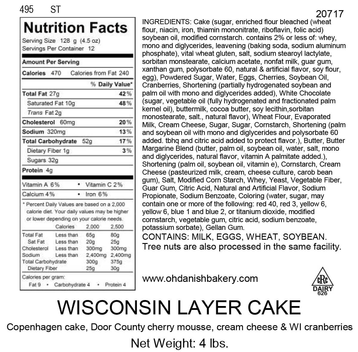 Nutritional Label for Wisconsin Layer Cake