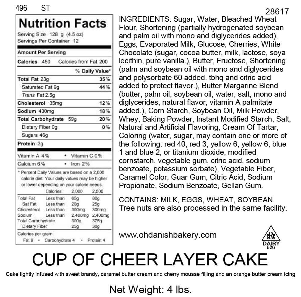 Nutritional Label for Cup of Cheer Layer Cake