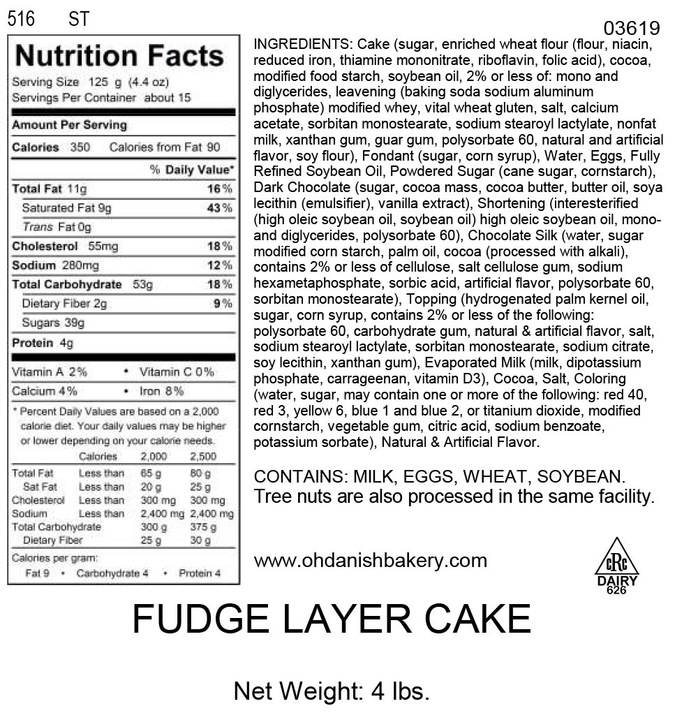 Nutritional Label for Fudge Layer Cake