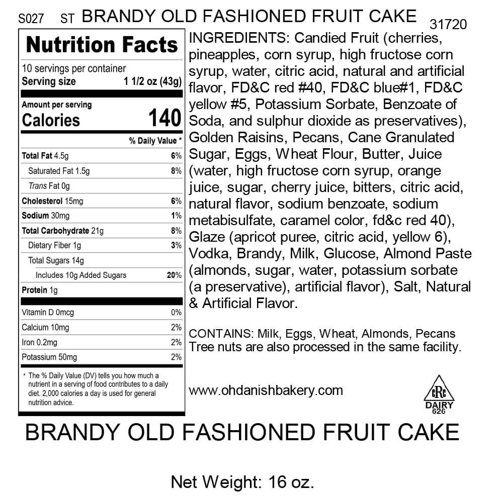 Nutritional Label for 1 - 1LB BAR FRUIT CAKE