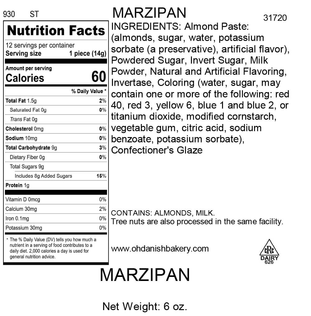Nutritional Label for 12 Pieces of Marzipan Candy