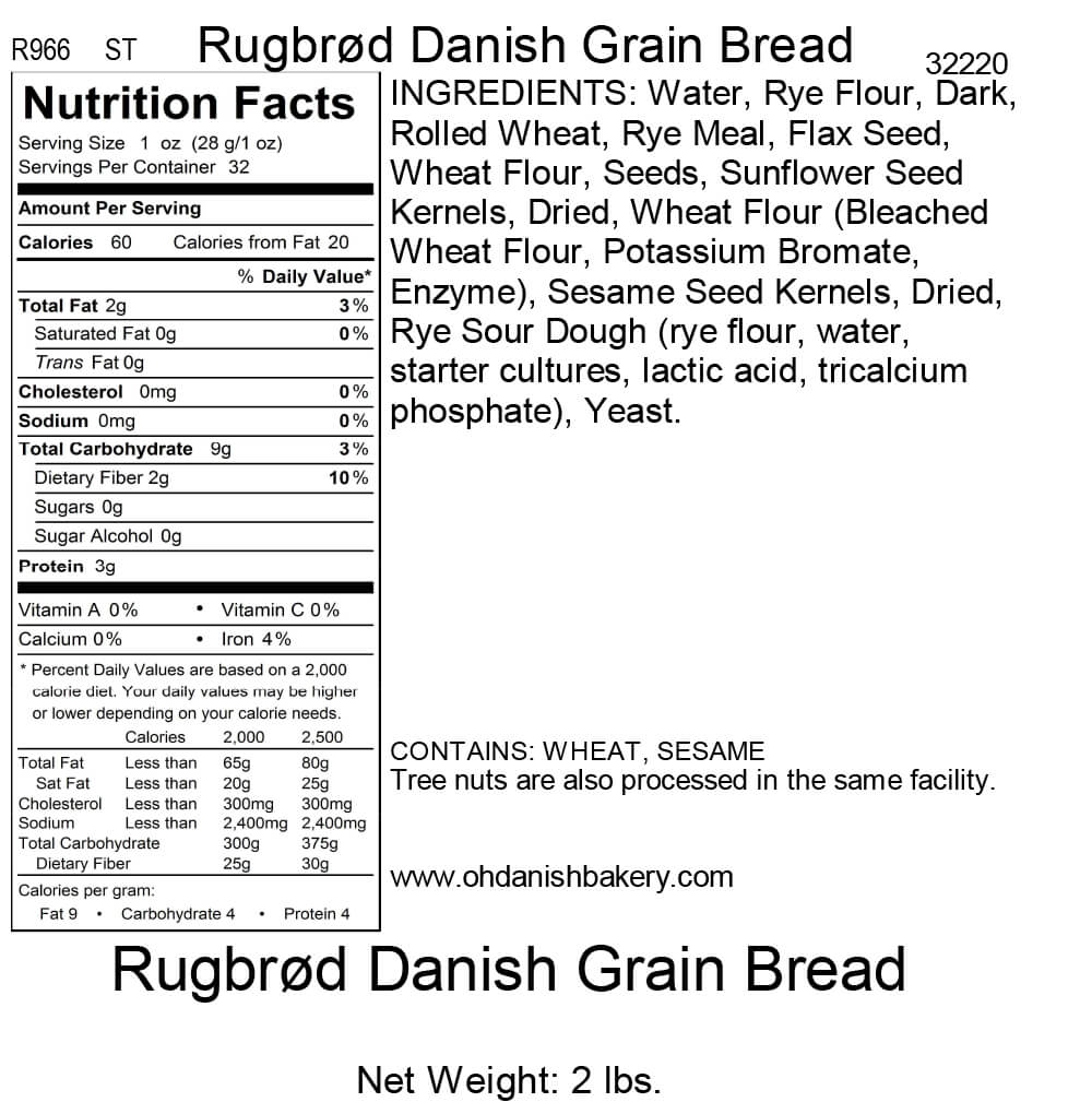 Nutritional Label for Rugbrod Danish Bread