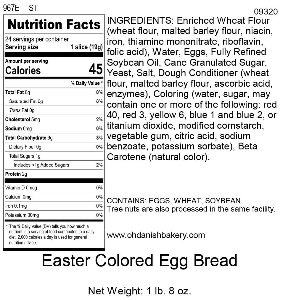 Nutritional Label for Easter Braided Colored Bread