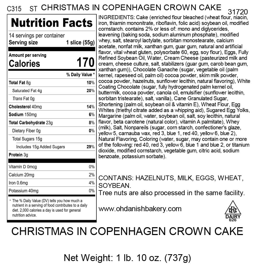 Nutritional Label for Christmas in Copenhagen Crown Cake