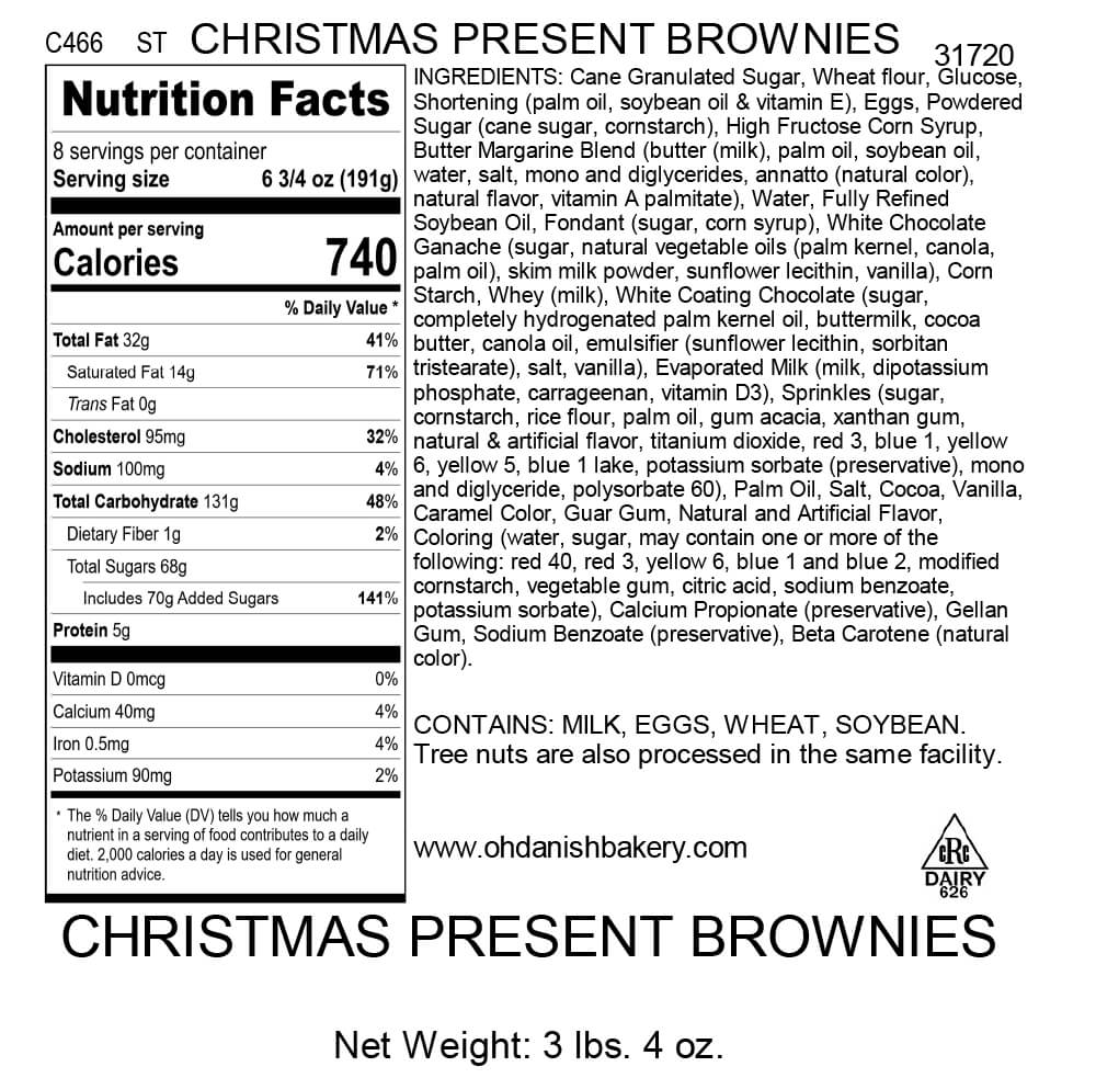 Nutritional Label for Christmas Present Brownies