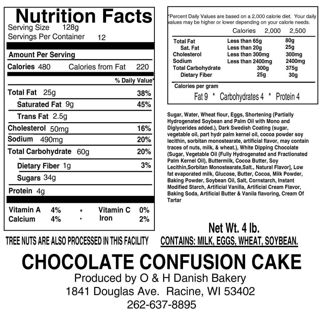 Nutritional Label for Chocolate Confusion Cake
