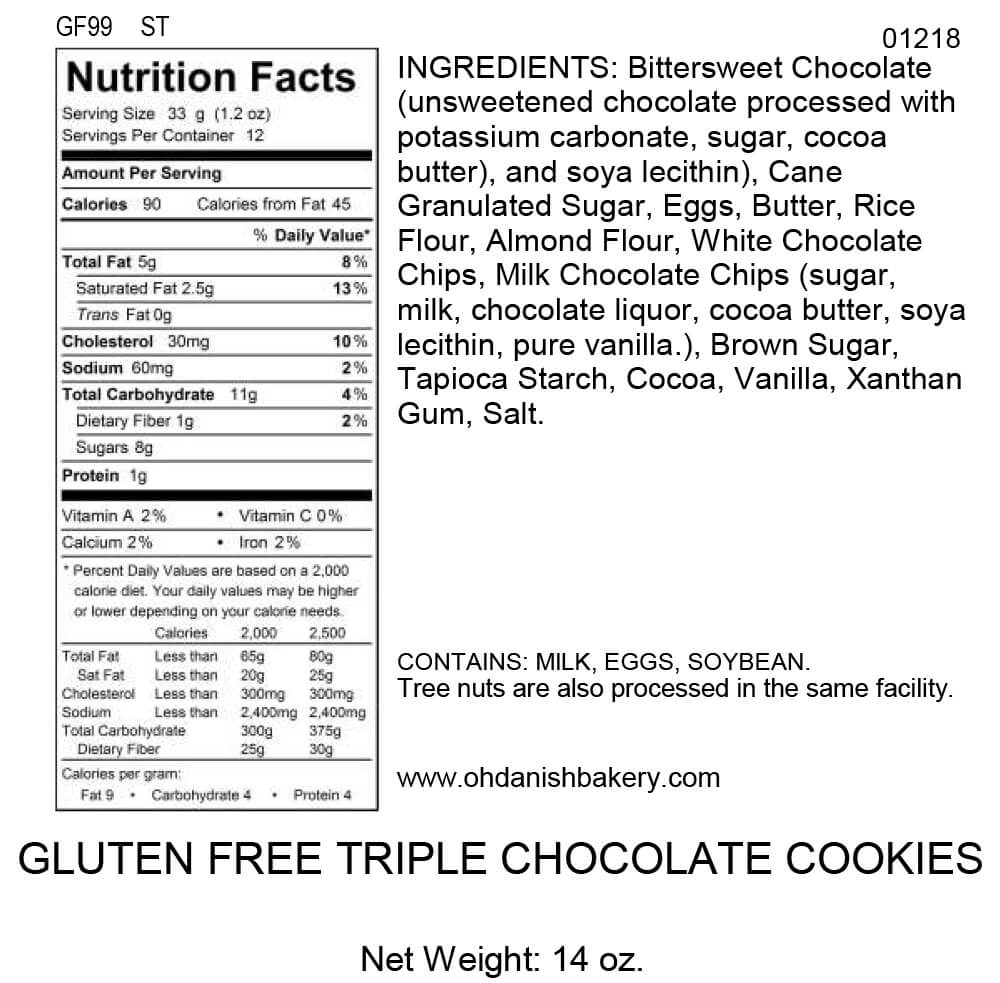 Nutritional Label for Gluten-Free Triple Chocolate Cookies