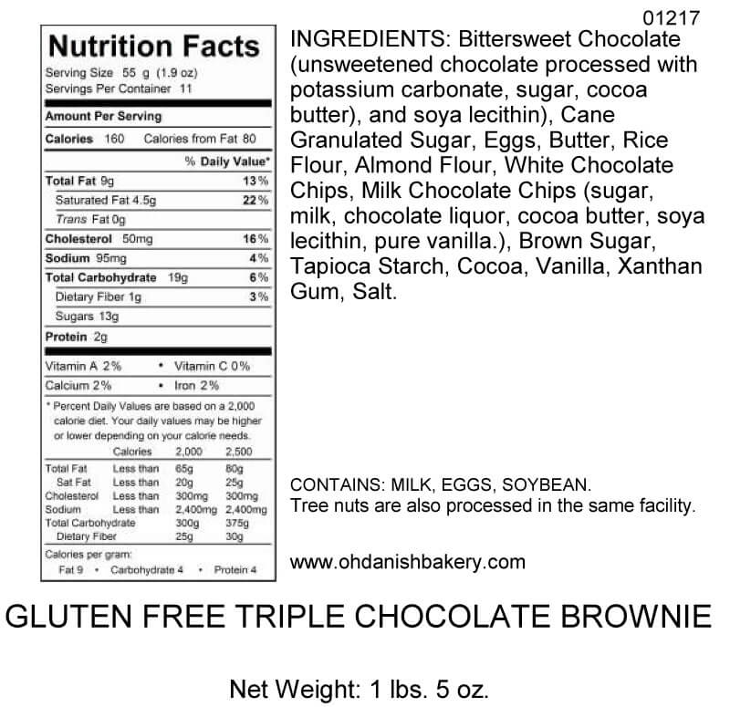 Nutritional Label for Gluten-Free Triple Chocolate Brownie