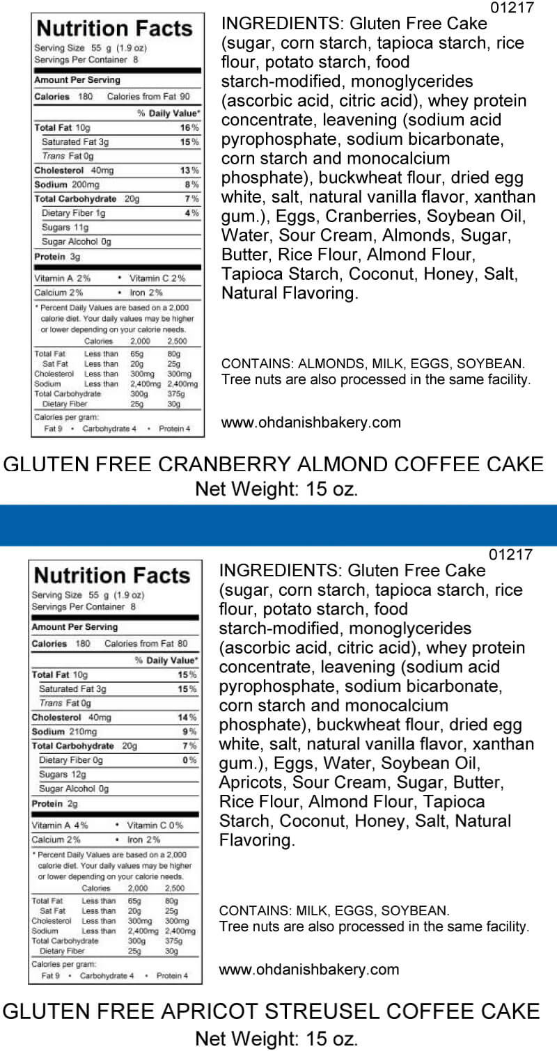 Nutritional Label for Gluten-Free Cranberry Almond/Apricot Coffee Cakes