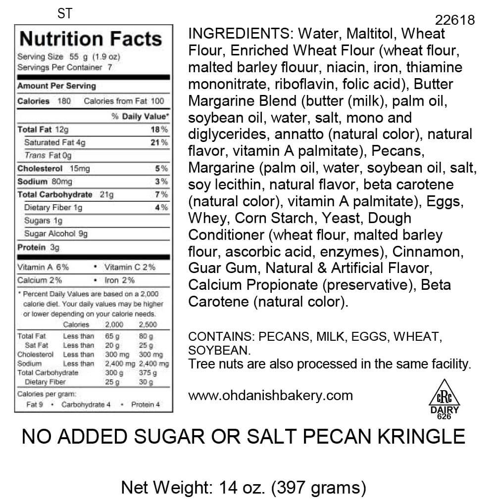 Nutritional Label for No Added Salt and Sugar Kringle