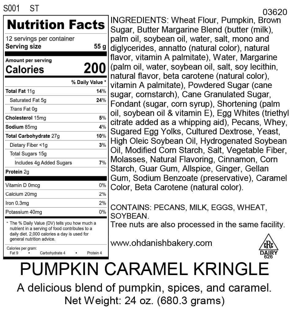Nutritional Label for Pumpkin Caramel Kringle