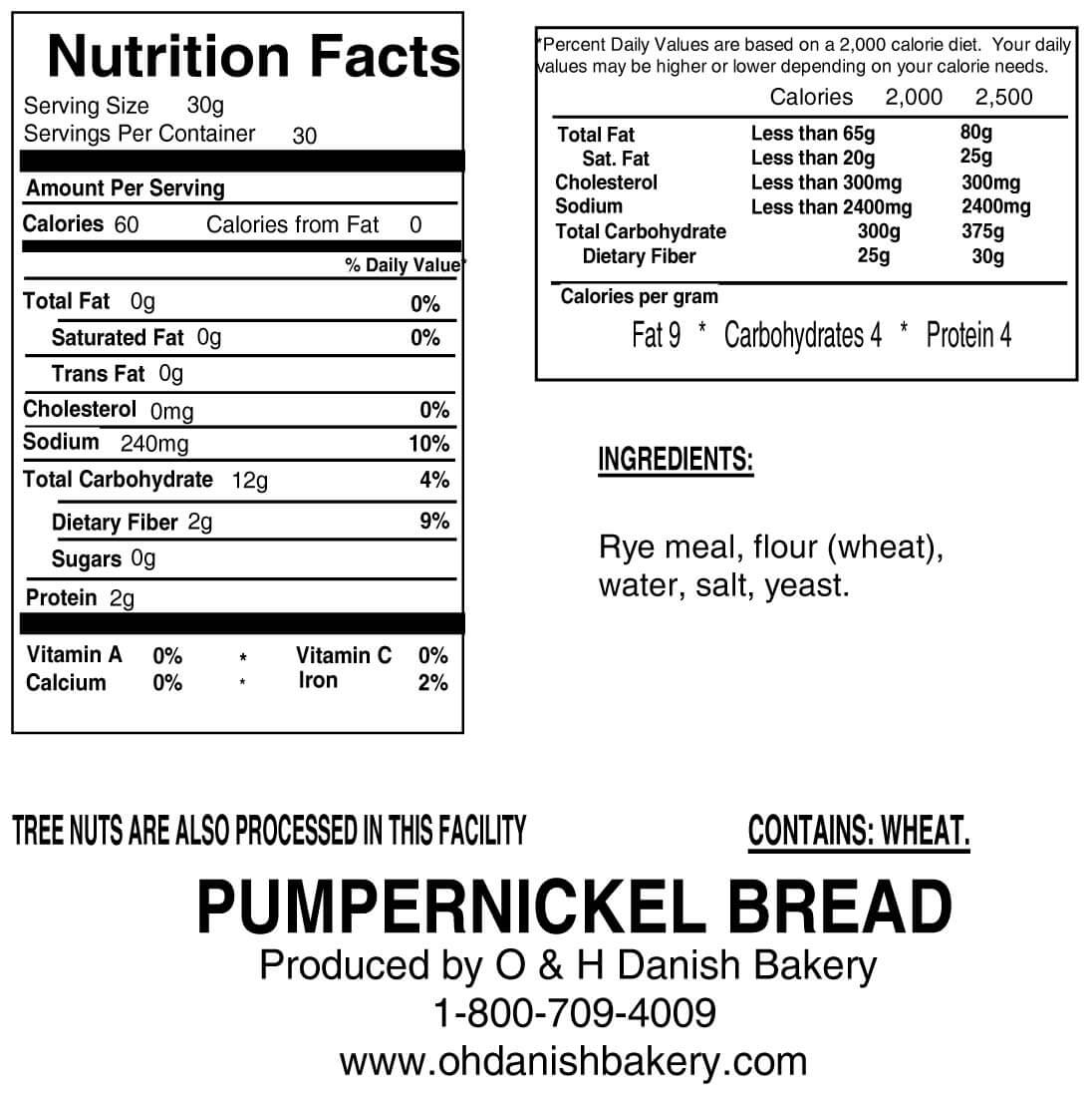 Nutritional Label for One Loaf of Pumpernickel