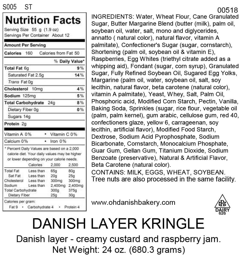 Nutritional Label for Danish Layer Kringle