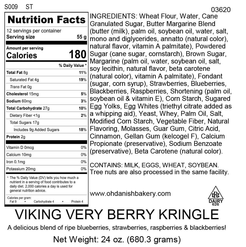 Nutritional Label for Viking Very Berry Kringle