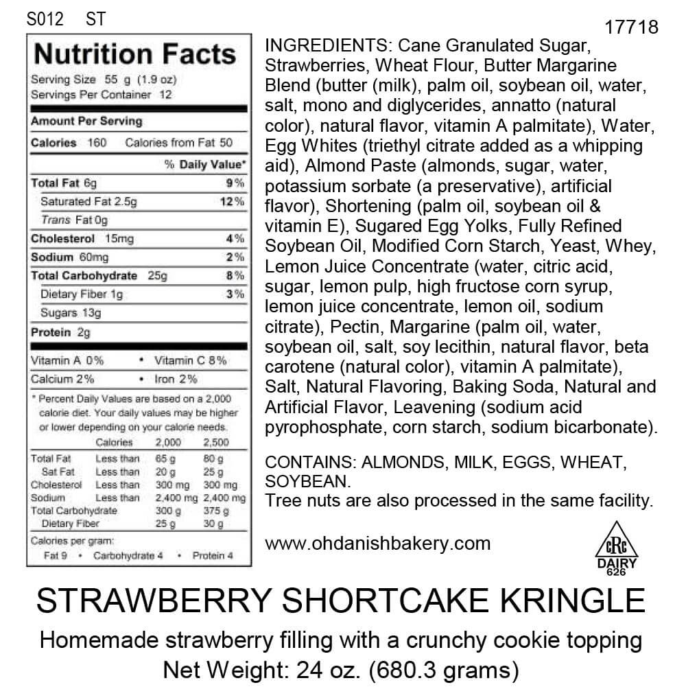 Nutritional Label for Strawberry Shortcake Kringle