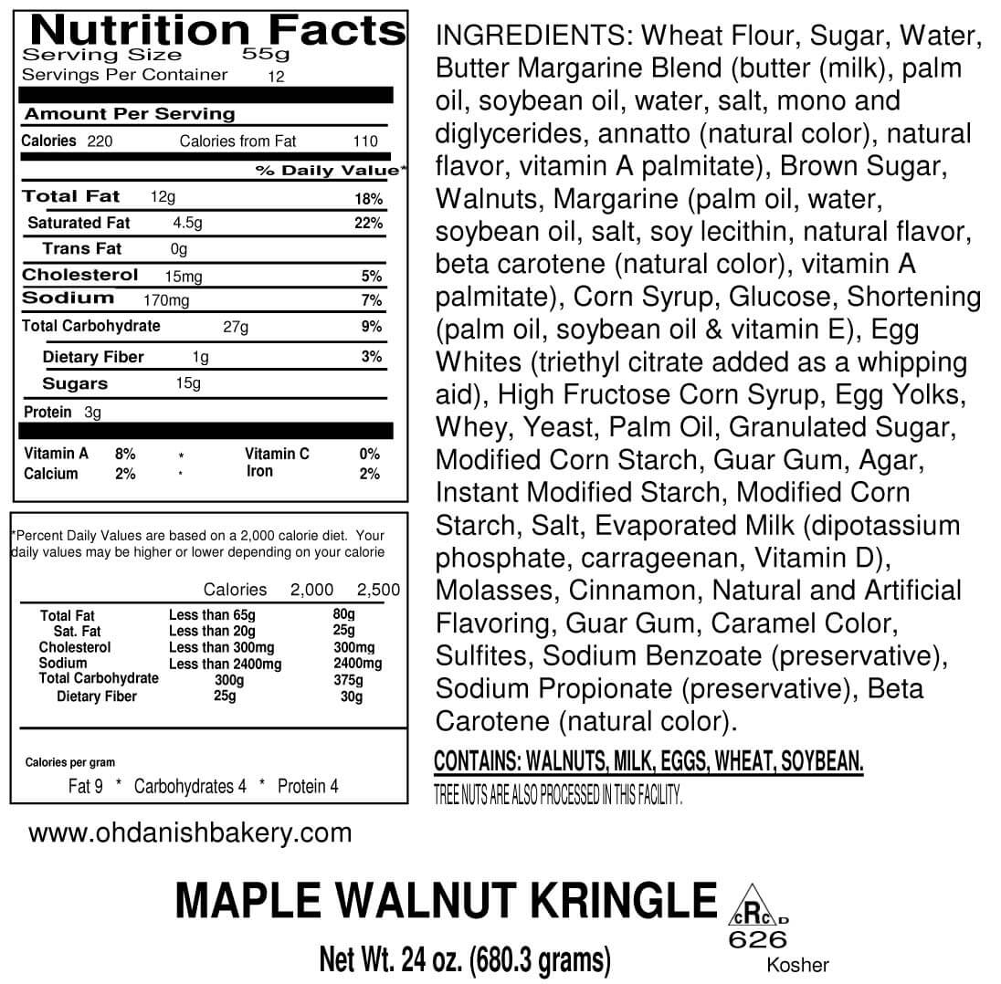 Nutritional Label for Maple Walnut Kringle