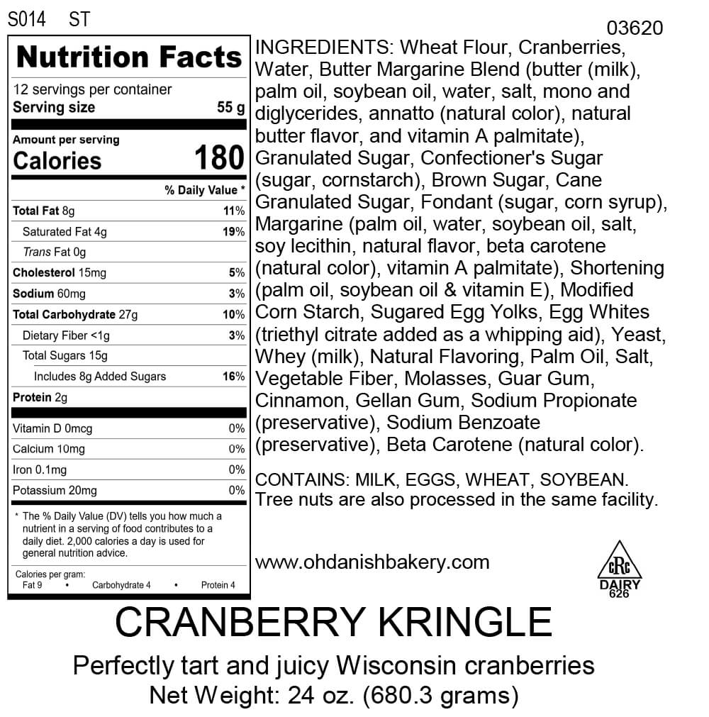 Nutritional Label for Cranberry Kringle