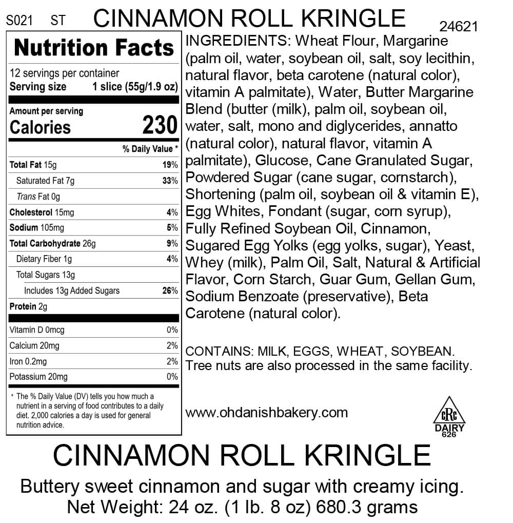 Nutritional Label for Cinnamon Roll Kringle