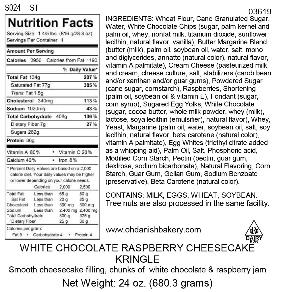 Nutritional Label for White Chocolate Raspberry Cheesecake Kringle