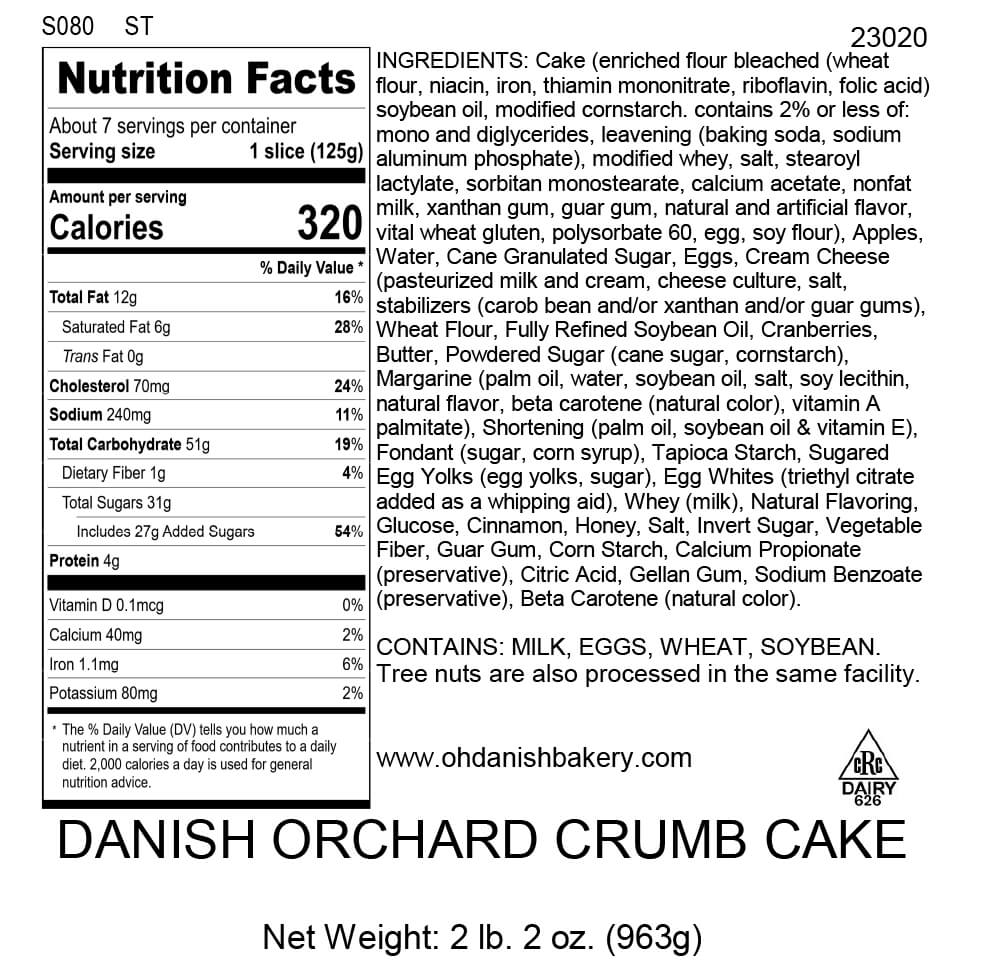 Nutritional Label for Danish Orchard Crumb Cake