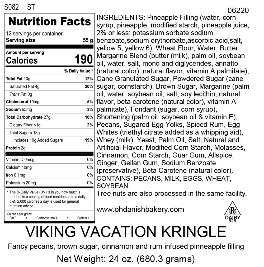 Nutritional Label for Chocolate Peppermint Kringle
