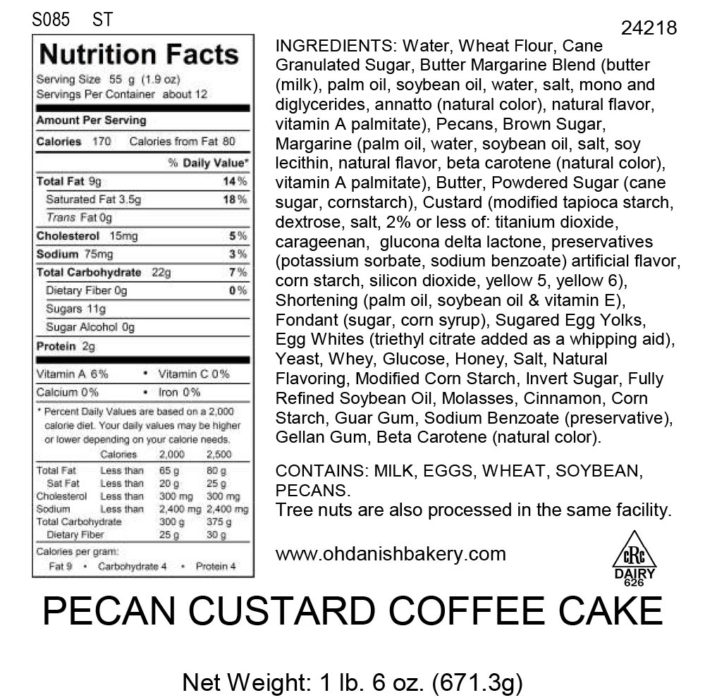 Nutritional Label for Pecan Custard Coffee Cake
