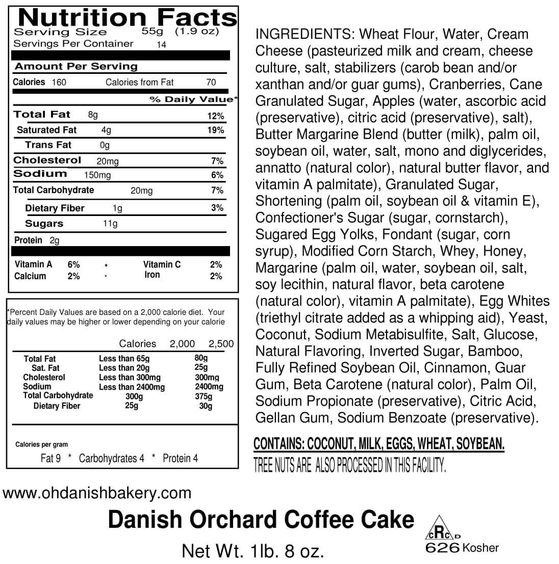 Nutritional Label for Danish Orchard Coffee Cake