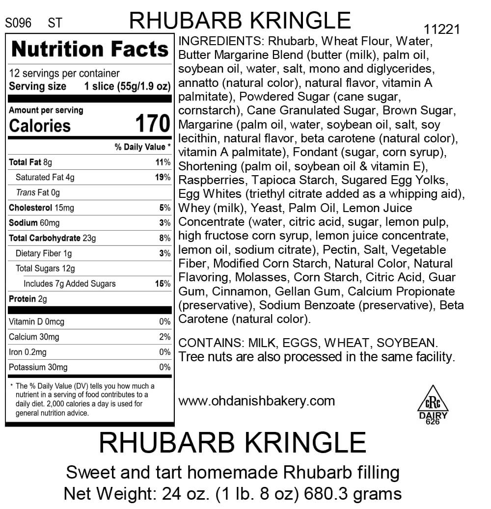 Nutritional Label for Rhubarb Kringle