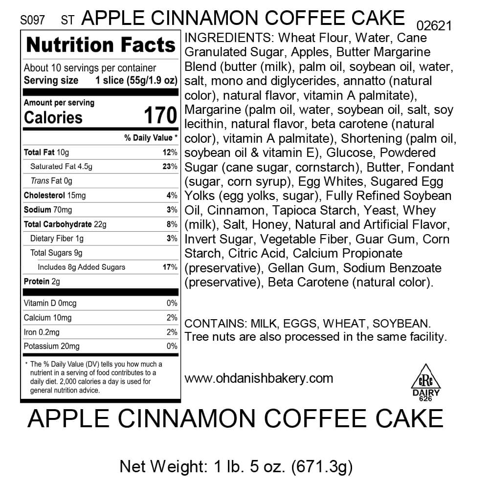 Nutritional Label for Apple Cinnamon Coffee Cake