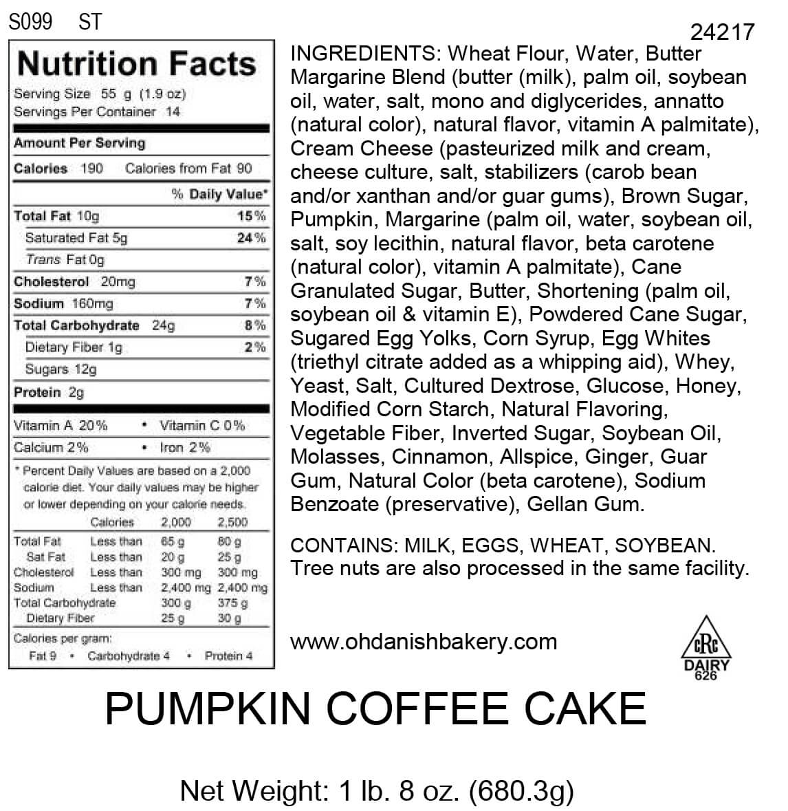 Nutritional Label for Pumpkin Coffee Cake