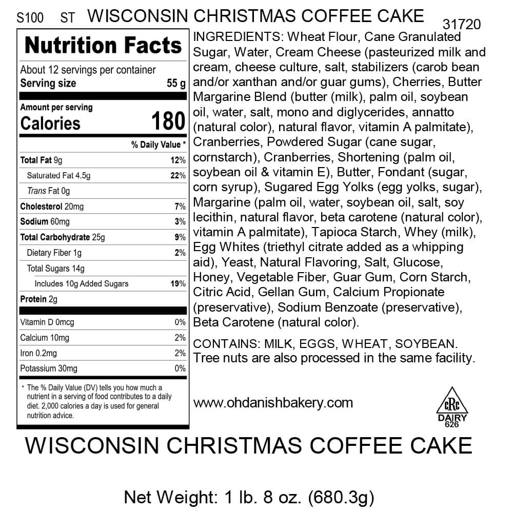 Nutritional Label for Wisconsin Christmas Coffee Cake